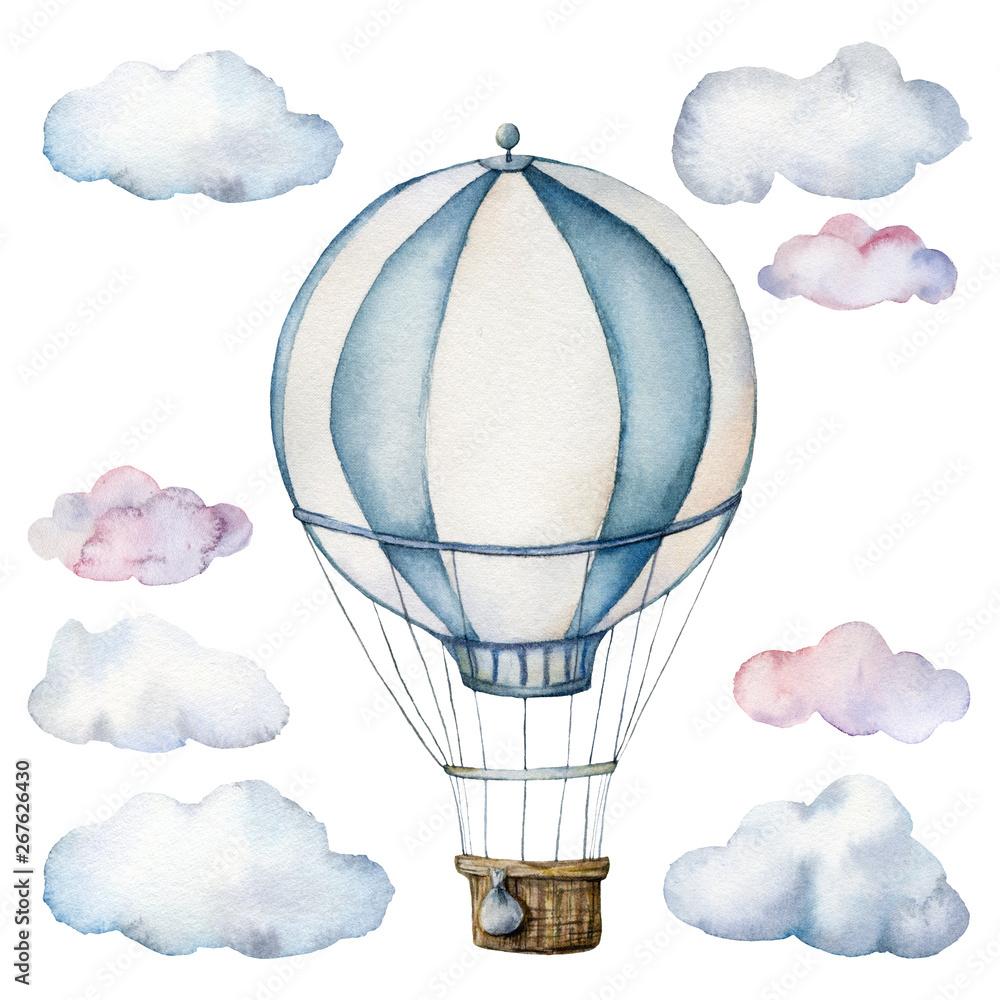 Akwarela z balonem i chmurami. Ręcznie malowane niebo ilustracja z aerostate na białym tle. Do projektowania, nadruków, tkanin lub tła.