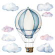 Leinwandbild Motiv Watercolor set with hot air balloon and clouds. Hand painted sky illustration with aerostate isolated on white background. For design, prints, fabric or background.