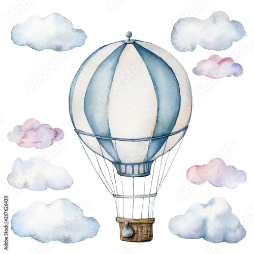 Valokuva Watercolor set with hot air balloon and clouds