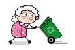 Running with Dustbin - Old Woman Cartoon Granny Vector Illustration