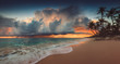 canvas print picture - Landscape of paradise tropical island beach, sunrise shot