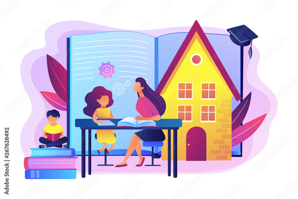 Fototapeta Children at home with tutor or parent getting education, tiny people. Home schooling, home education plan, homeschooling online tutor concept. Bright vibrant violet vector isolated illustration
