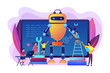 Kids programming and creating robot at class, tiny people. Engineering for kids, learn science activities, early development classes concept. Bright vibrant violet vector isolated illustration