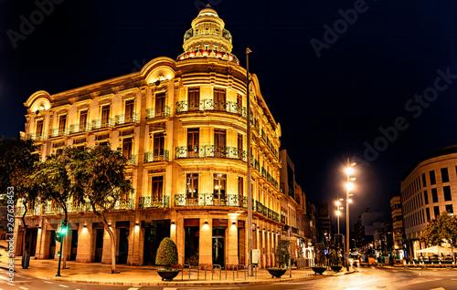 Night view of Puerta de Puchena plaza in Almeria, Spain.