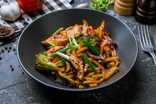 Chicken Wok Noodles On Black P...