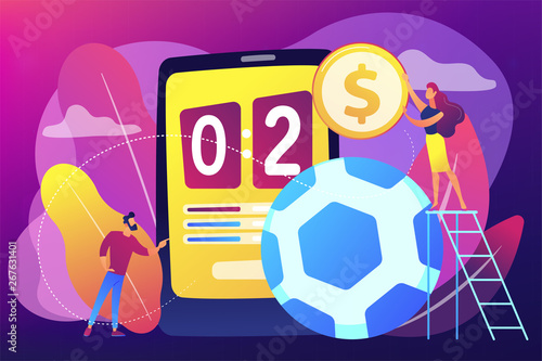 Fototapety, obrazy: Tiny people, businessman betting on football and bookmaker at big smartphone with score. Sports betting, bookmaker market, sports wagering concept. Bright vibrant violet vector isolated illustration