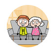Romantic Old Couple - Old Woman Cartoon Granny Vector Illustration