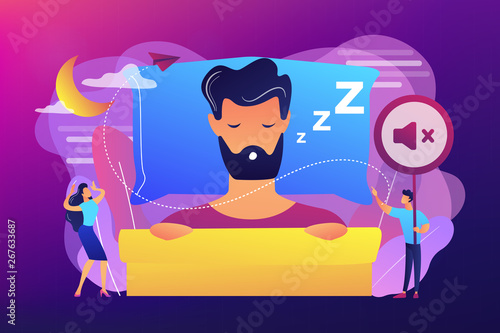 Photo Businessman sleeping in bed and snoring, angry awake tiny people listening