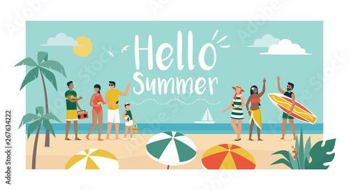 Fototapeta Happy people enjoying summer vacations on the beach obraz