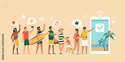 Fototapety, obrazy: Cheerful people booking a summer vacation online