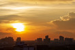 Sunset at city of Bangkok with building