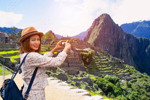 Photo Beautiful landscaps view of Machu picchu seven wonder of this world at Cusco Peru