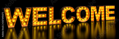 Fototapeta  Welcome signboard from golden light bulb letters, retro glowing font