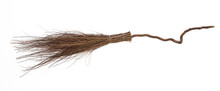 Old Broom For Sweeping, Halloween Broom For Witch On A White Background