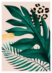 FototapetaAbstract composition of tropical plants, golden outline, geometric figures and animal pattern.