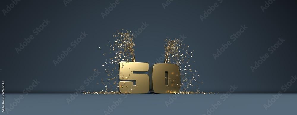 Fototapeta cinquante ans, mot en 3D doré sur fond bleu