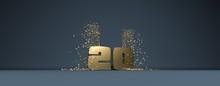 20 Ans, Mot En 3D Doré Sur Fo...