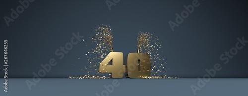 Fotografia  40 ans, mot en 3D doré sur fond bleu