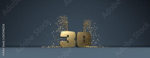 Fotomural 30 ans, mot en 3D doré sur fond bleu