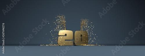 Photo 20 ans, mot en 3D doré sur fond bleu