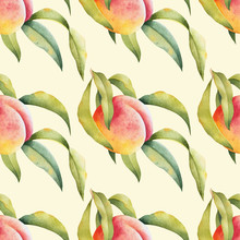 Branch Of Peach Tree With Leaves On White Background. Watercolor Seamless Pattern With Fruit.