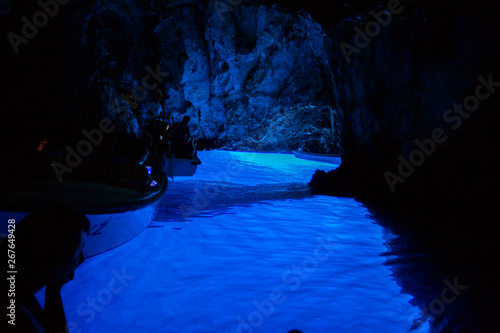 Keuken foto achterwand Donkerblauw Tourists inside Blue cave, Bisevo island - Croatia.