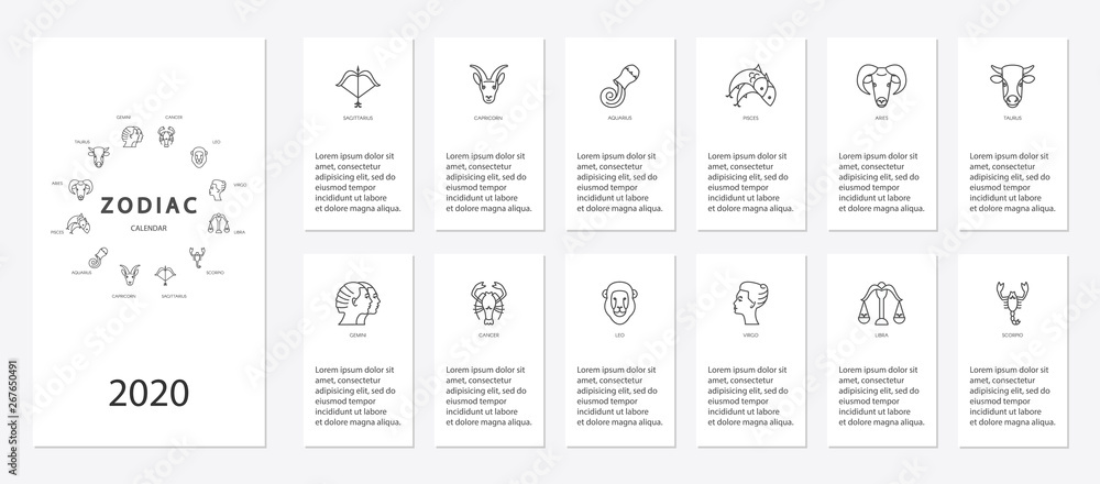 Fototapeta Yearly forecast by zodiac constellations template for horoscope