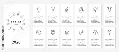 Obraz Yearly forecast by zodiac constellations template for horoscope - fototapety do salonu