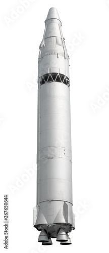 Obraz nuclear intercontinental ballistic missile from cold war era isolated on white background vertical side view of silver painted ground to space rocket vehicle with massive atom warhead design reference - fototapety do salonu
