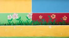 The Colorful Cement Wall From The Flower Pattern.
