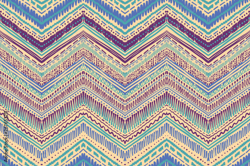 Foto auf Leinwand Boho-Stil Abstract Ikat and boho style handcraft fabric pattern. Traditional Ethnic design for clothing and textile background, carpet or wallpaper
