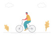 Young man is riding a bike in the park. There is also plants and clouds in the picture. The concept of sports lifestyle. Funny flat style. Vector illustration