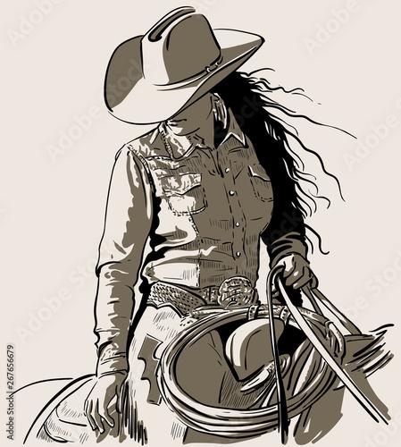 Fotografie, Obraz Woman with a cowboy hat