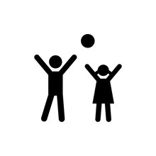 Two Kids Playing Icon Vector
