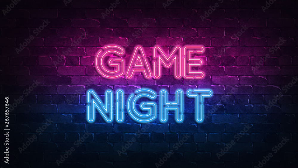 Fototapeta game night neon sign. purple and blue glow. neon text. Brick wall lit by neon lamps. Night lighting on the wall. 3d illustration. Trendy Design. light banner, bright advertisement