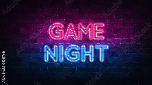 game night neon sign Fototapet