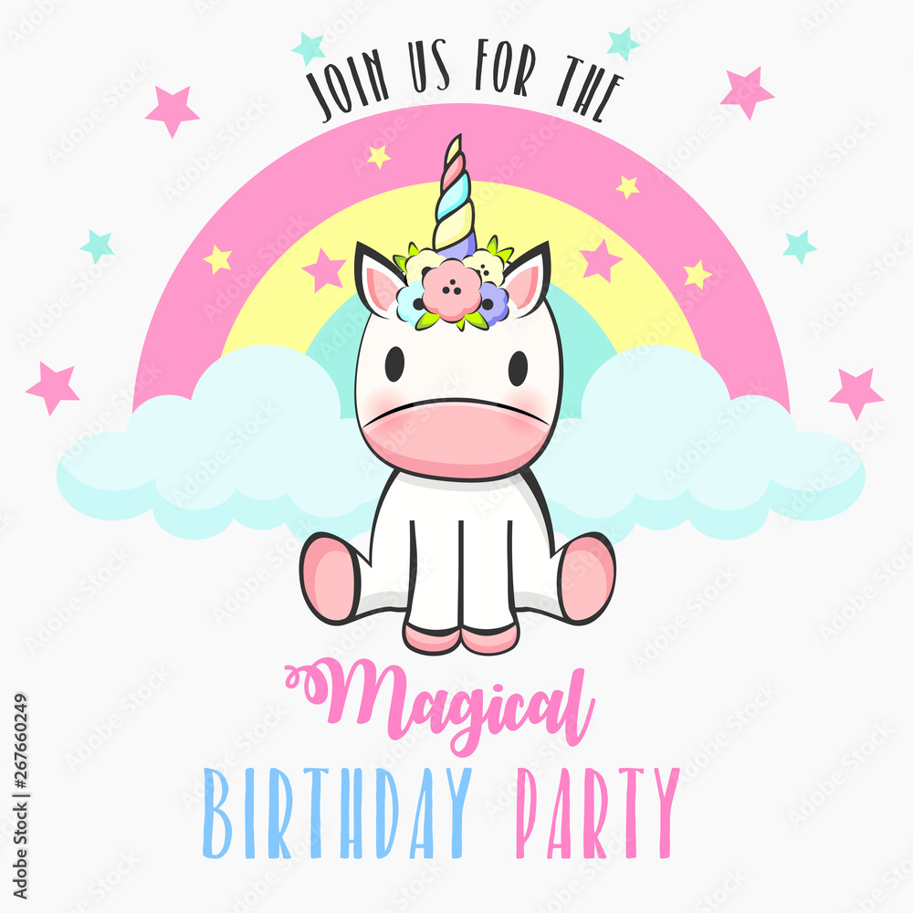 Birthday party invitation with baby unicorn <span>plik: #267660249 | autor: Elena Baryshkina</span>