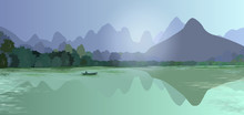 Panoramic Abstract Landscape With Mountains, Forest And Water (river, Lake). On The Water A Small Boat With A Silhouette Of A Man. Poster, Billboard, Vector Illustration.