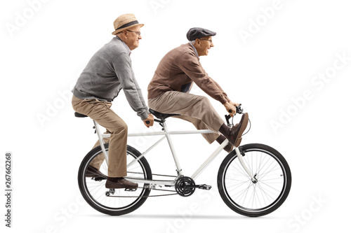 Fototapeta  Two elderly men riding a tandem bicycle with legs up