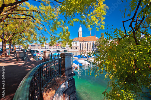 Zurich waterfront Limmat river and landmarks colorful view Tablou Canvas