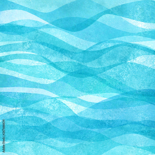 Fototapeta Watercolor transparent sea ocean wave teal turquoise colored background. Watercolour hand painted waves illustration obraz