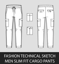 Fashion Technical Sketch Men Slim Fit Cargo Pants
