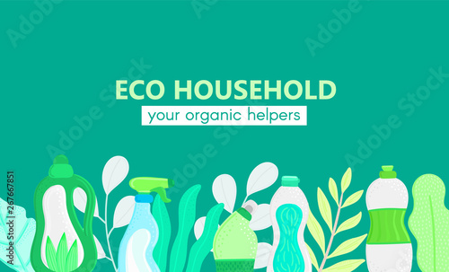 Fotografía  Background with eco friendly household cleaning supplies and leaves