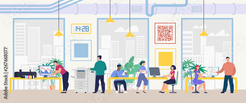 Daily Work and Office Routine Flat Vector Concept Wallpaper Mural