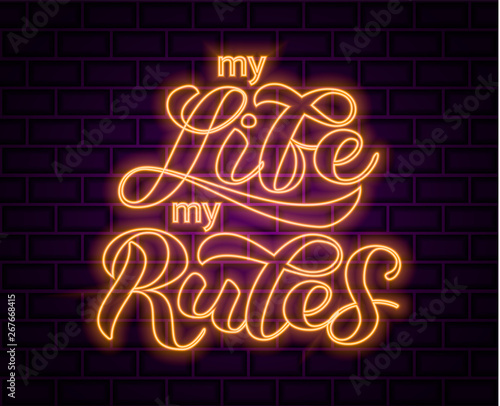 Tablou Canvas My life my rules lettering.