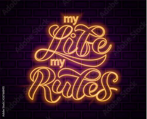 Cuadros en Lienzo My life my rules lettering.