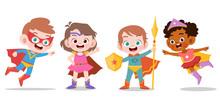 Superhero Kids Vector Illustration Isolated