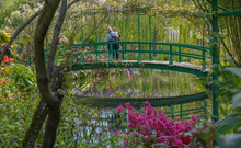 Giverny, France - 05 07 2019: The Gardens Of Claude Monet In Giverny. The Nympheas And The Bridge