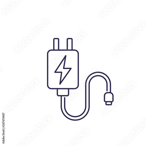 Foto Mobile charger vector line icon on white