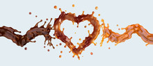 Liquid Dark Chocolate And Sweet Caramel Sauce Swirls Waves Twisted With Heart Form Splash Isolated. Сombination Of Caramel And Chocolate Flavors. Liquid Template Ads Design Element.. 3D